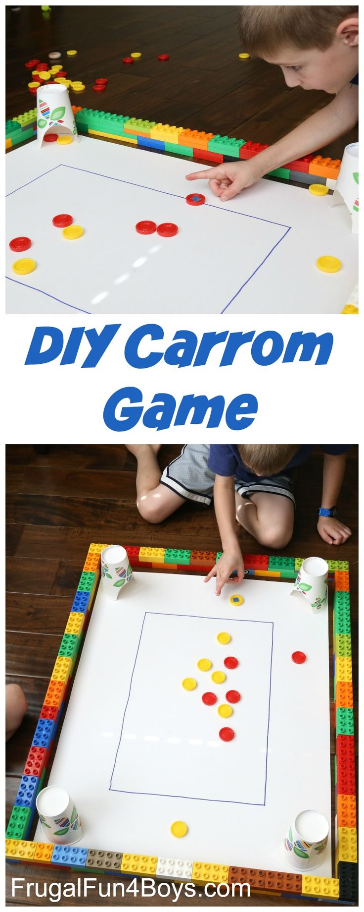 Homemade Carrom Game for Kids - Try to get the game pieces into the cups, similar to pool/billiards. Fun boredom buster!