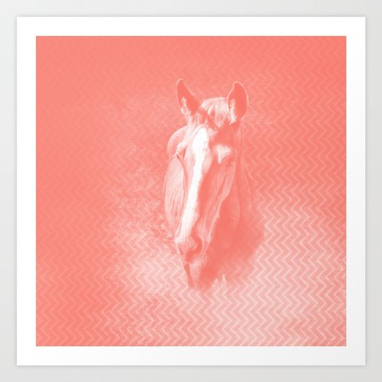Abstract horse in misty peach by Wendy Townrow