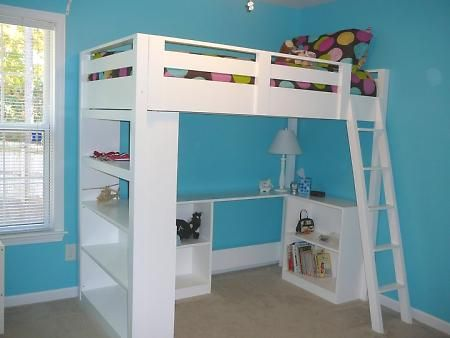 Hubby has been talking about building a loft bed for our son.  The bookshelves make this one functional but fun and the directions look fairly easy.