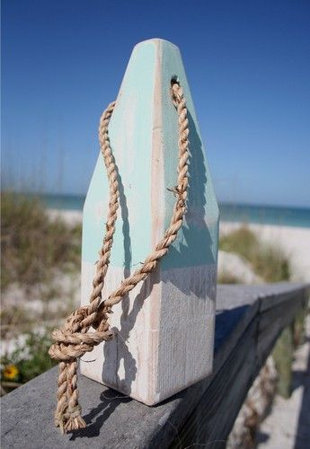 "12"" Nautical Wood Buoy- Aqua/White 
