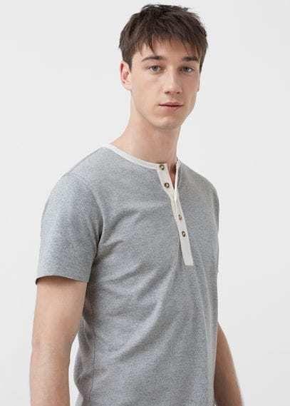 Mango Outlet Henley cotton t-shirt