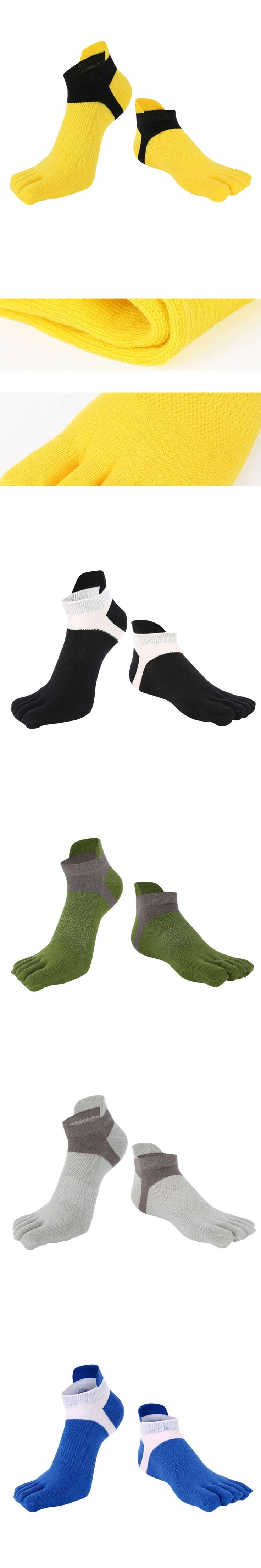 New Men's Cotton Five Finger Toe Socks Deportes Short Tube Mesh Finger Meias Polyester Sock Correr Elasticity Sock S4
