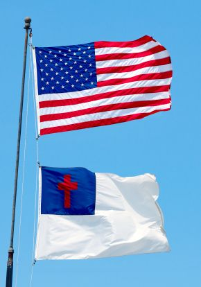 Pledge to the Christian Flag, bible and us flag