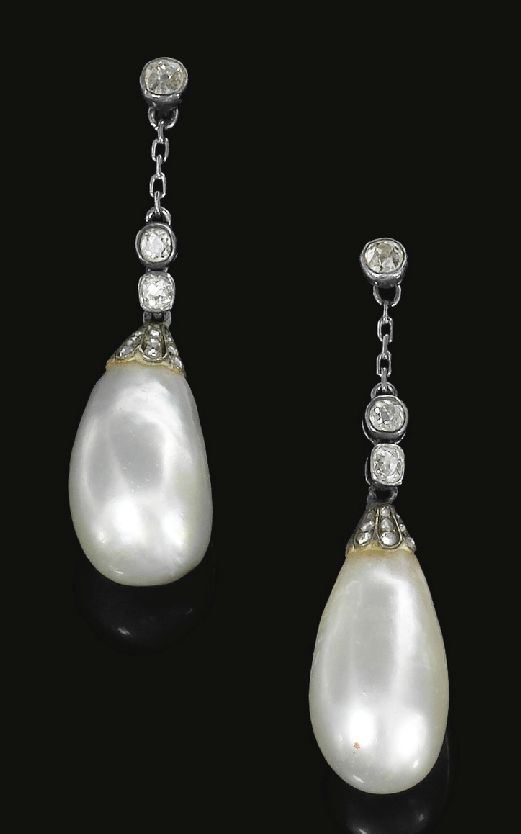 Pair of natural pearl and diamond earrings, circa 1820. Each surmount set with cushion shaped and single cut diamonds in collet settings, suspending a pearl drop capped with rose diamonds