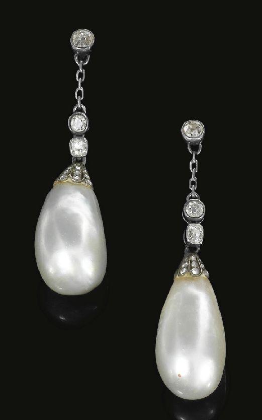 Naturalᅠ PEARL & DIAMONDᅠearrings,ᅠca 1820 -- From a European Royal Family - Each surmount set w/ cushion-shapedᅠ& single-cut diamonds in collet settings, suspending a pearl drop capped w/ roseᅠ diamonds, screw fittings w/ shepherd hooks, fitted case -- Southeby's sold 110,500 CHF