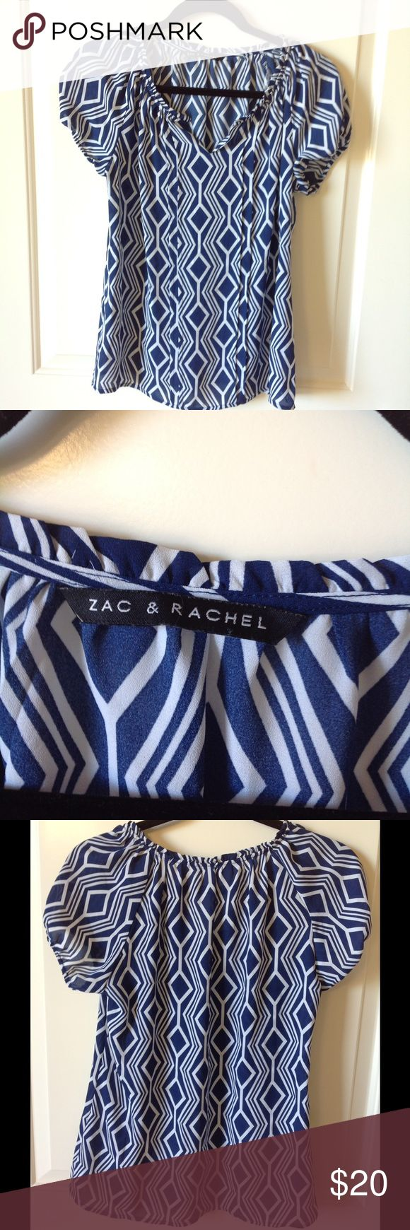 Zac and Rachel navy and white top size s Blue and white, pleated front, gathered v- neck makes this a fun top to wear!  Machine washable. Zak and Rachel Tops Blouses