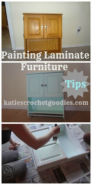painting laminate furniture from Katie's Crochet {Crafts & DIY 35}