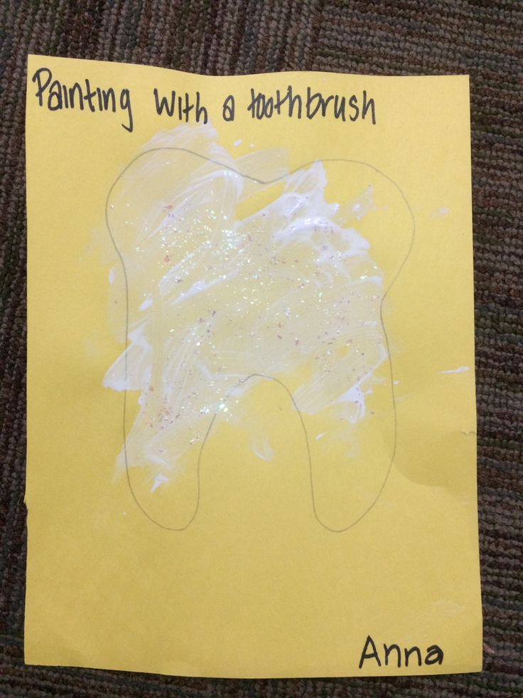 Painting with toothbrushes community helpers dentist teeth art craft project pre…