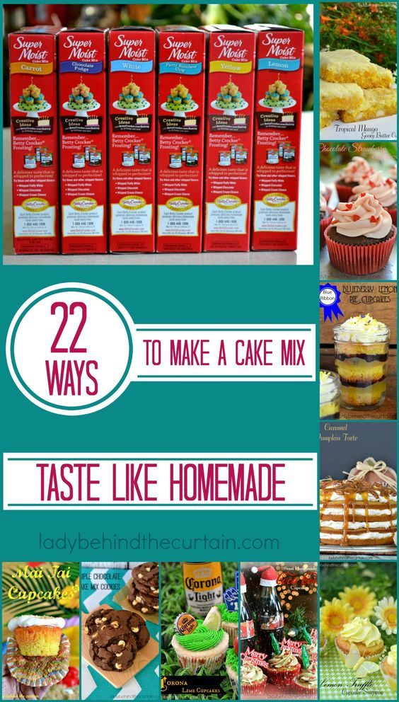 22 WAYS TO MAKE A CAKE MIX TASTE LIKE HOMEMADE | I realize that not everyone has the time to whip up a cake from scratch or has a supply of flour and sugar on hand. But everyone can have a few cake mixes in their pantry. They have a long shelf life and are inexpensive. Here are some great ways to improve your cake mix.  I added some links to recipes I've created using some of the ingredients listed.