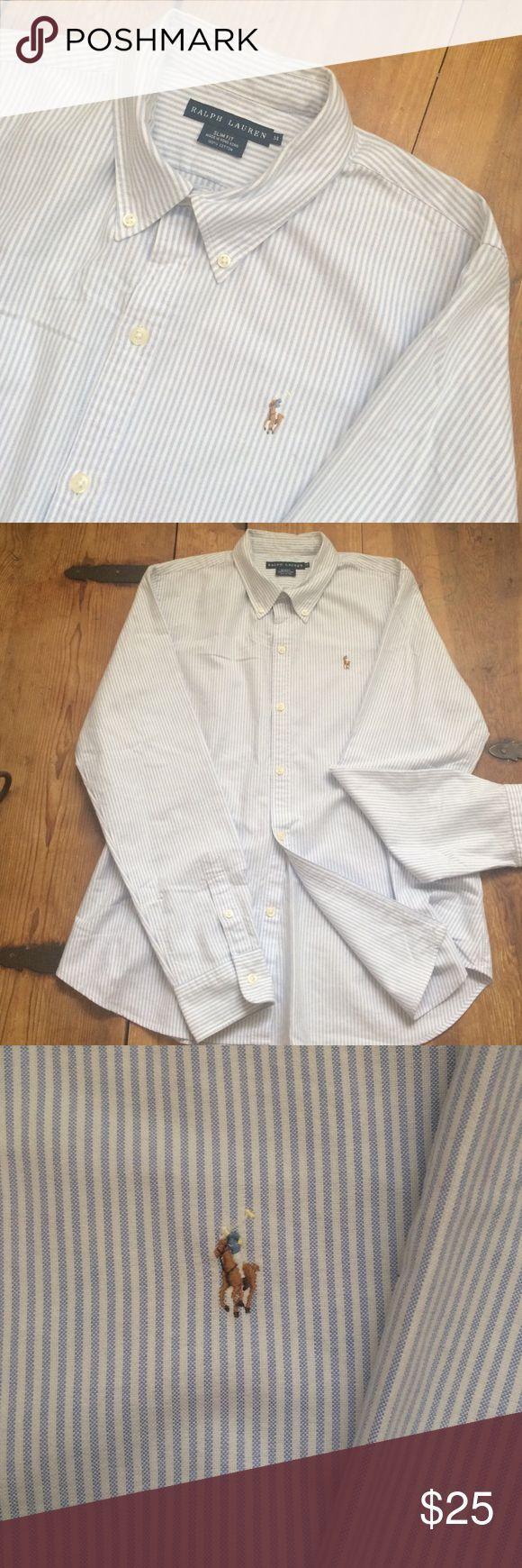 "•Ralph•Lauren•Women's•Oxford•Shirt• Slim fit• size (14) large•blue/white stripes• multi-color pony• bust:22"" length:27""• GUC• no flaws• Ralph Lauren Tops Button Down Shirts"