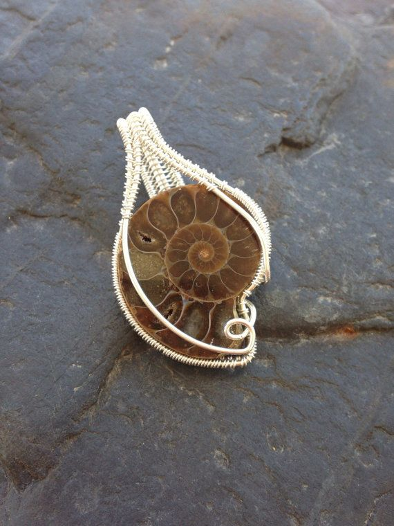 Wire Wrap Pendant, Fossil Jewelry /// Wire Wrapped Ammonite Fossil in Sterling Silver