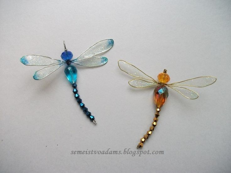 Wire Dragonfly with nail polish / Стрекоза из бисера и лака для ногтей by semeistvoadams.blogspot.com