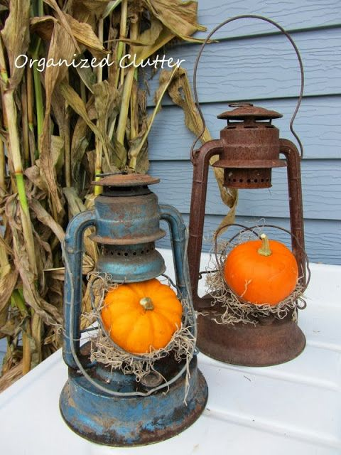 Rustic Lanterns with Pumpkins www.tablescapesbydesign.com https://www.facebook.com/pages/Tablescapes-By-Design/129811416695