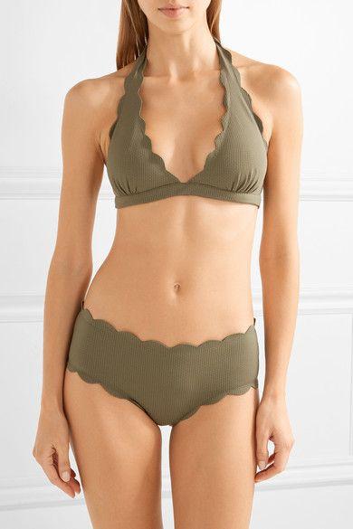 Marysia - Spring Scalloped Halterneck Bikini Top - Army green