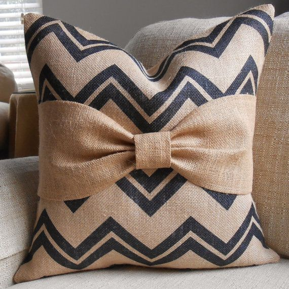 Black chevron Burlap Bow pillow cover 18x18 by LowCountryHome