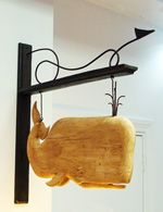 #Whale Trade Sign. Original wood carving.