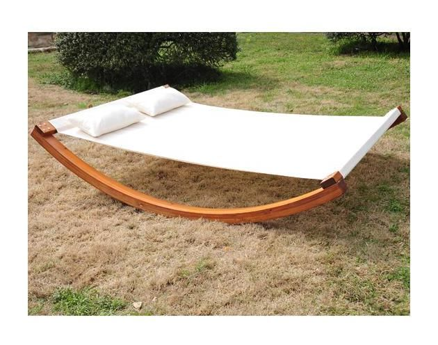 Outsunny Garden Day Swing Bed Sun Lounger Patio Furniture Hammock With Pillows FSC Certificated Wood - Garden, swimming pool