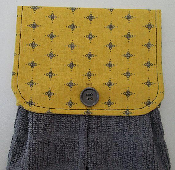 Hanging Kitchen Towel Yellow Gold Gray Pattern Cotton
