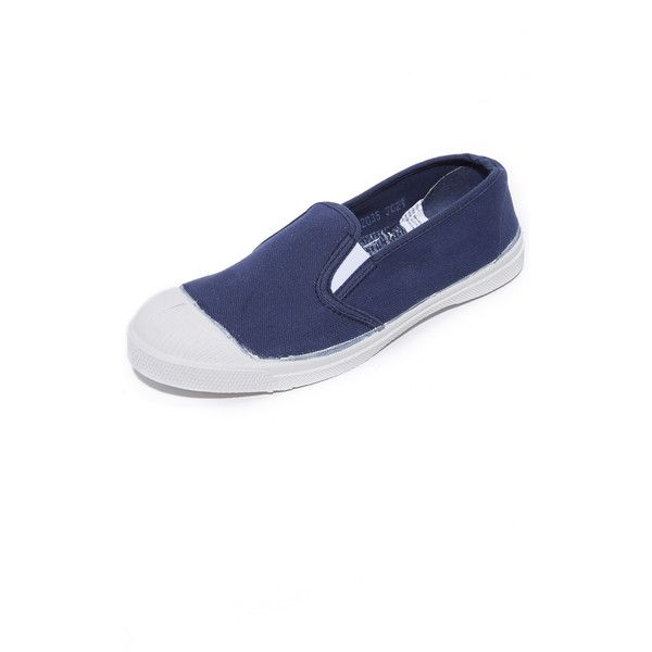 Bensimon Tennis Tommy Slip On Sneakers ($32) ❤ liked on Polyvore featuring shoes, sneakers, tennis sneakers, canvas tennis shoes, bensimon sneakers, canvas slip on shoes and tennis shoes