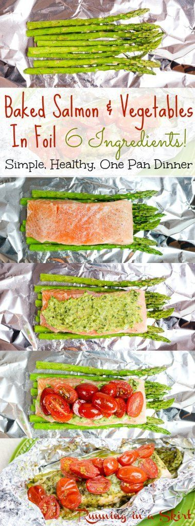 Baked Salmon in Foil packets with asparagus and tomatoes! Only 6 ingredients and topped with pesto. Simple weeknight dinners recipe!  Clean eating with no dishes!| Running in a Skirt