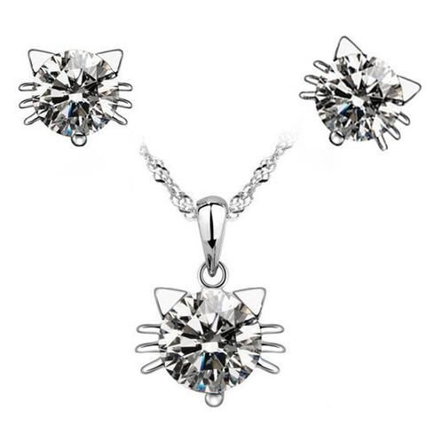 Diamond Cat Ear Necklace and Earrings Bundle