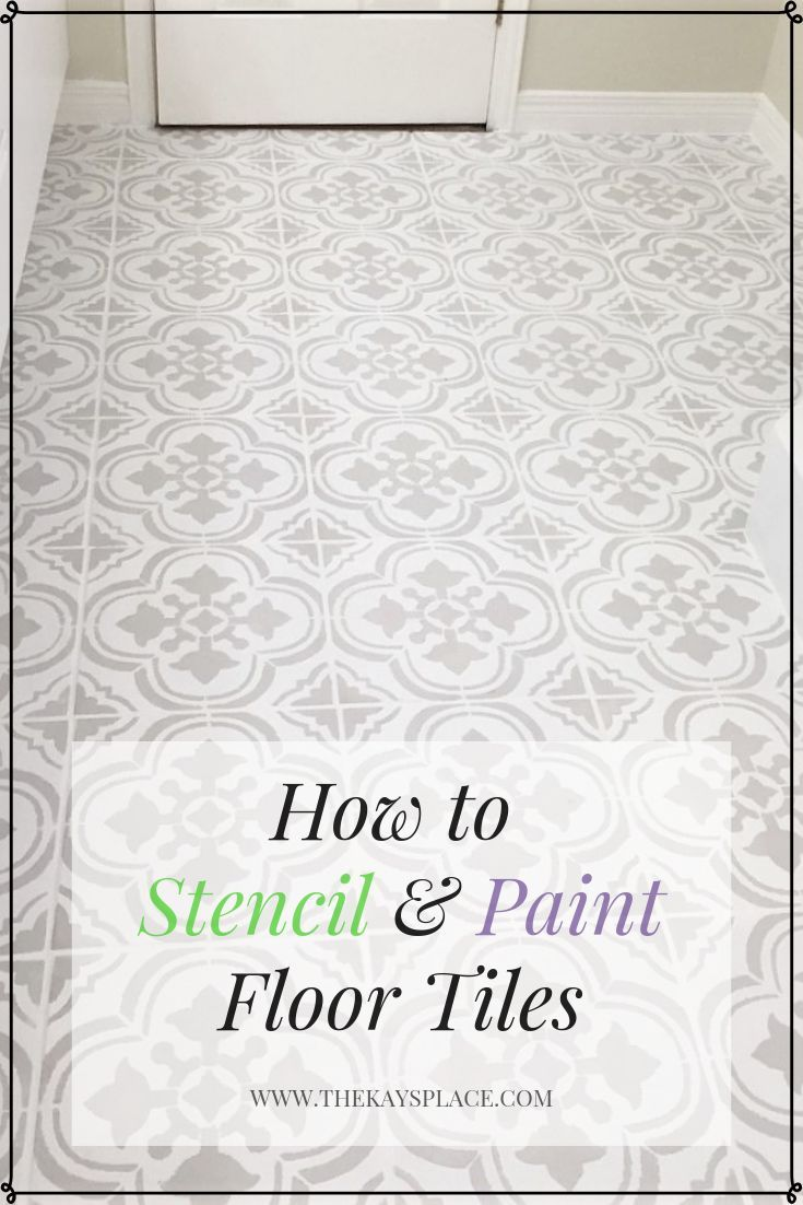 How I Painted And Stenciled My Old Outdated Tile Floor Stenciled Floor Flooring Stenciled Tile Floor