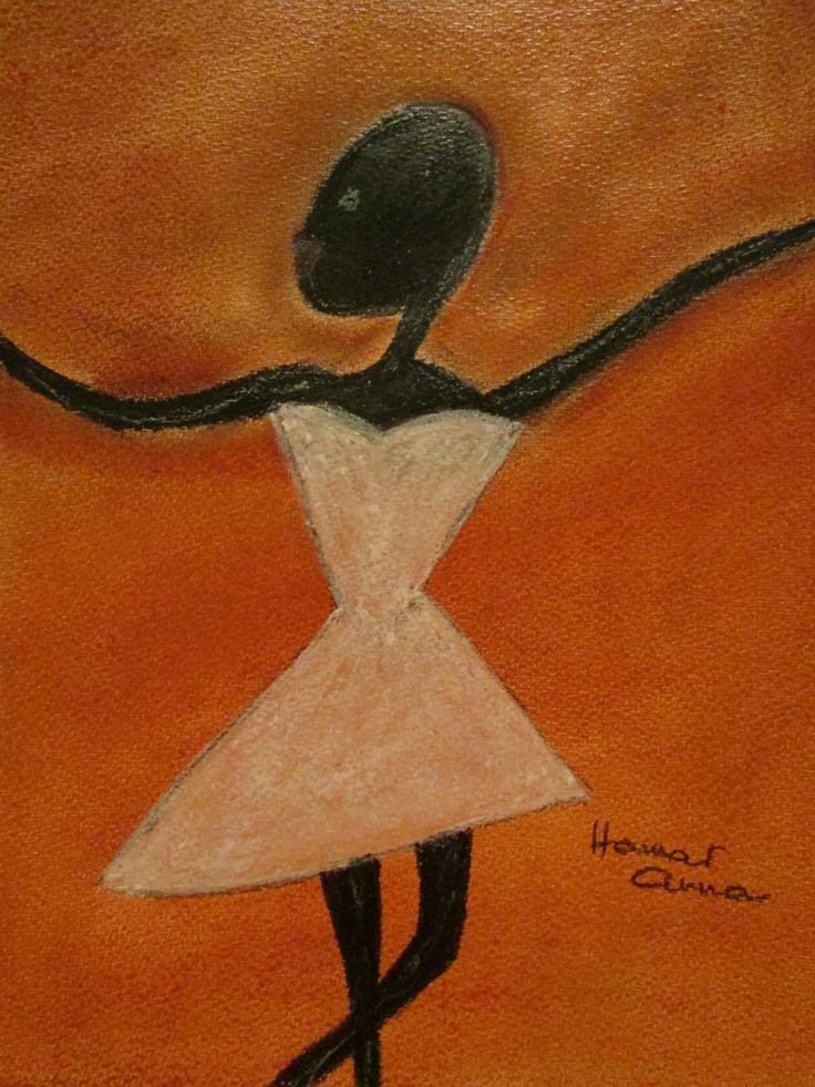 Fekete táncosnő. Pasztell, papír. 30 x 21 cm.