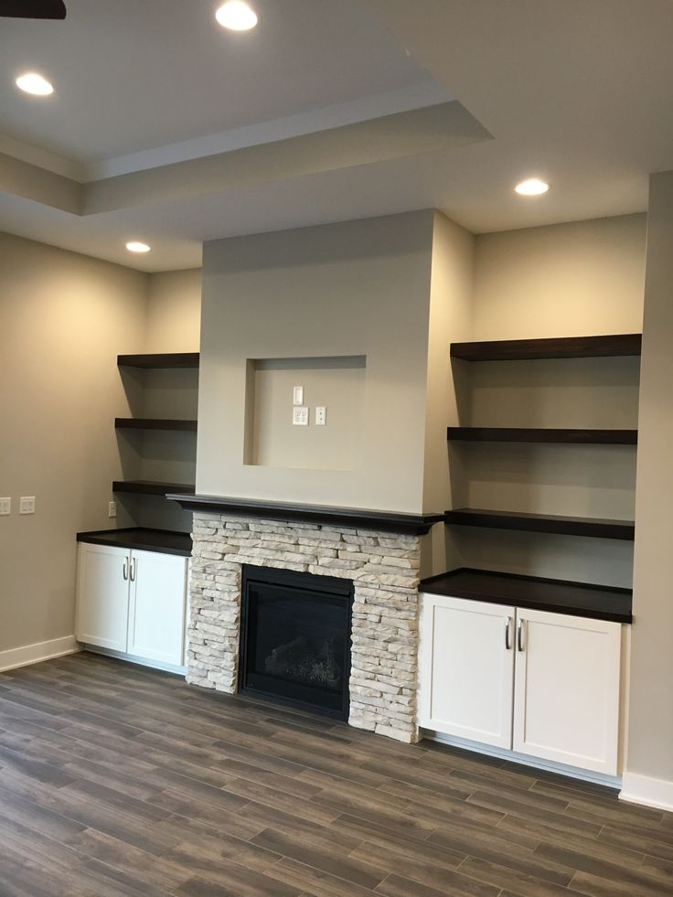 White Cabinets Half Stone Fireplace Wood Mantle