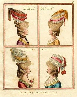 18th-century American Women: More Big Hair -- Higher, Higher, Higher - French Fashion plates 1777