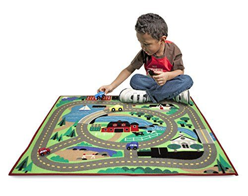 Multi-terrain scene includes waterways, construction site, school, and more Includes 4 colorful wooden cars Skid-proof backing is safe on all floor surfaces. toys4mykids.com