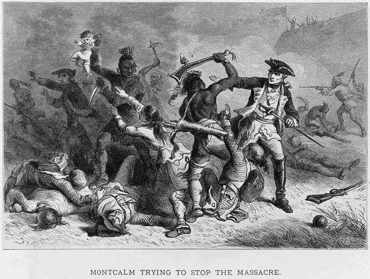 Marquis Louis-Joseph de Montcalm trying to stop Indians from attacking British soldiers and civilians as they leave Fort William Henry at the Battle of Fort William Henry.