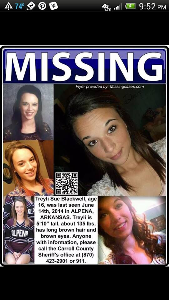 Treyli Sue Blackwell missing since June 14, 2014  Please pass this along. Her family is doing all they can.