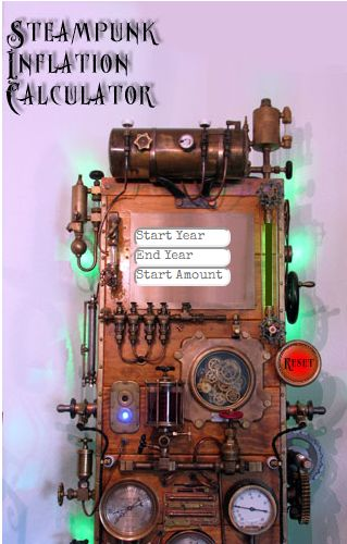 """The steampunk inflation calculator was designed to be a fun way to calculate U.S. inflation from 1774 through future estimates up to 2024. So it is not only a past inflation calculator but also a """"future inflation calculator"""" as well."""