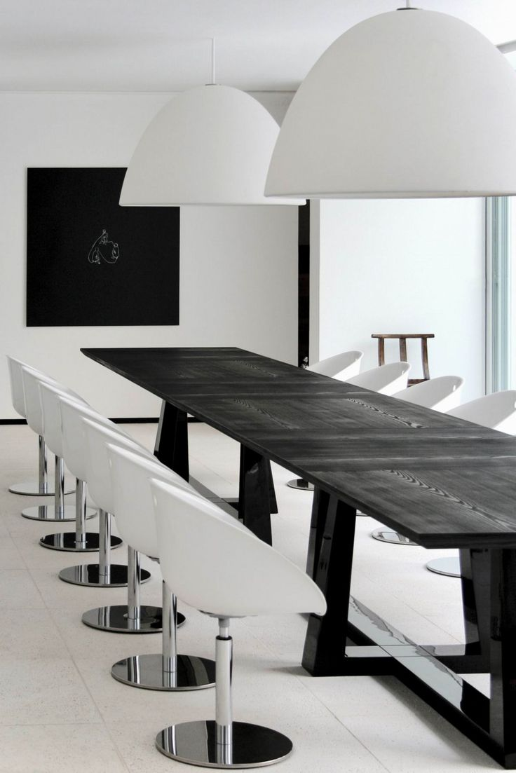 Download Modern Minimalist Dining Room Interior Design Feat Twin Oversized  Pendant Light Above Black Wood Expandable