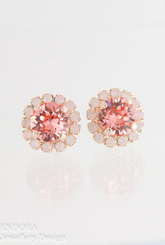 Vintage style earrings | vintage bride | vintage style wedding | pink wedding | peach wedding | wedding jewelry | bridesmaid earrings