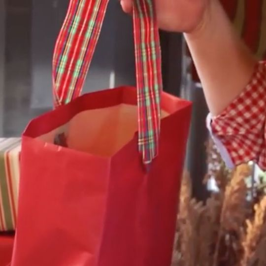 Turn ordinary wrapping paper into holiday gift bags!