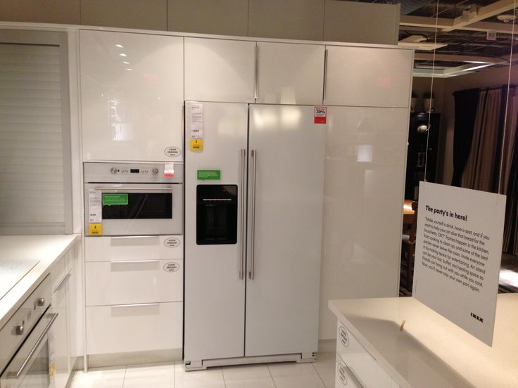 17 best images about white appliances black countertops for Ikea fridge cabinet
