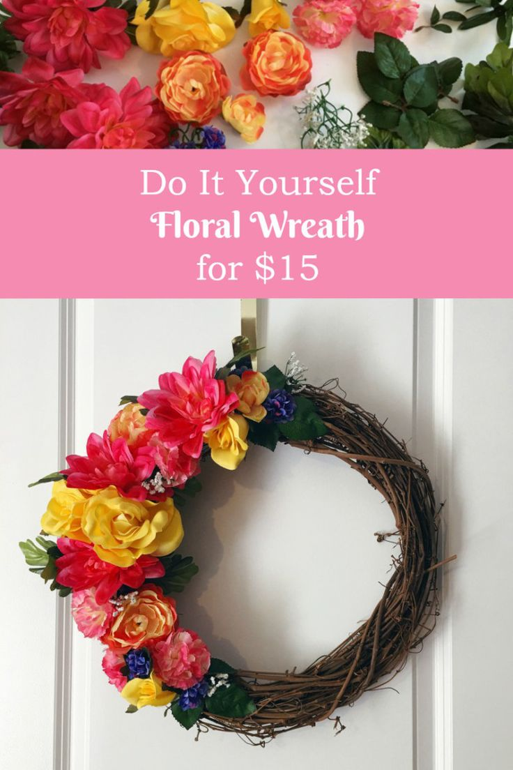 #DIY Floral Wreath tutorial. This wreath is perfect for spring and simple to make - covering only half of the branch wreath makes it even prettier! Use bright fake flowers; these are from Michael's and the dollar store. #springwreath