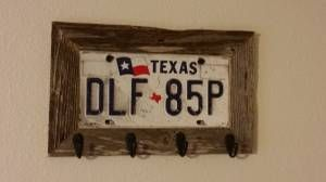 I want to make this like right now! License Plate Key Holder with Old Barn-wood.