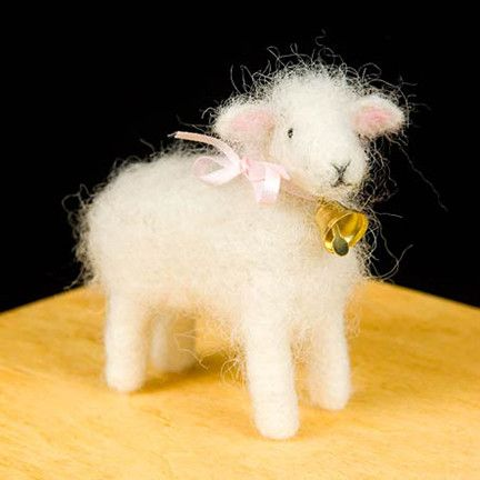 WoolPets Sheep needlefelting kit. Learn the art of sculptural needle felting! Kit includes felting needles, wool roving, and step by step photo instructions that make this craft a snap. Kit makes one