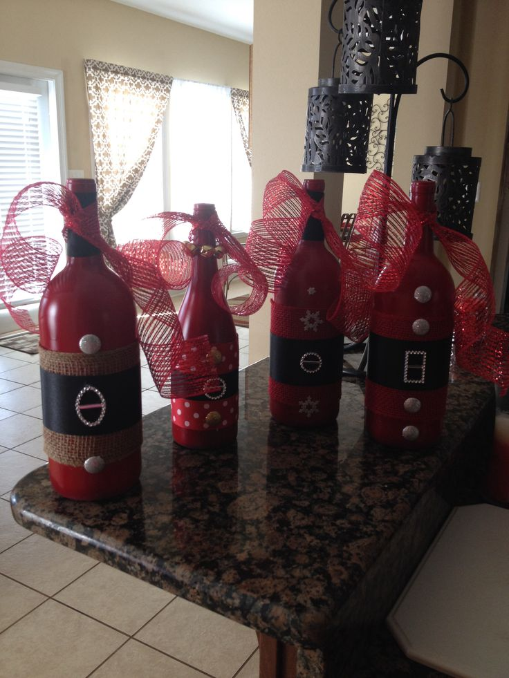 Christmas Wine Bottle Decor..love this and I have a ton of wine bottles!!