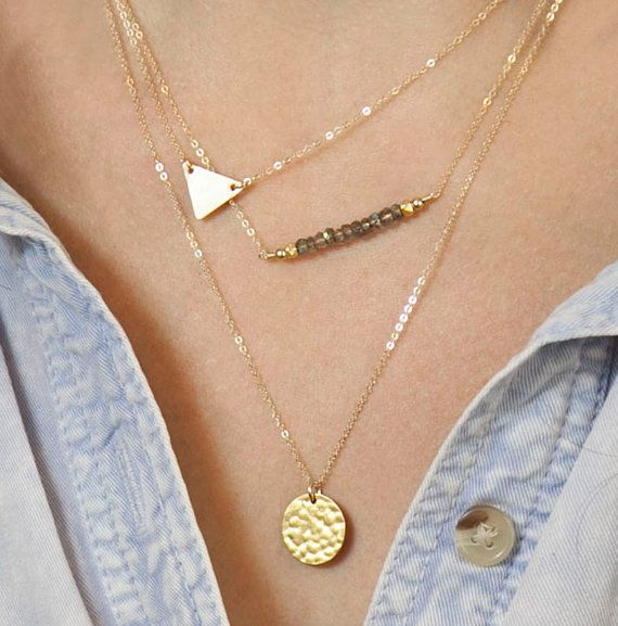 Layered. Gold Triangle Necklace // Perfect Layering Necklace // Delicate Gold Necklaces // Layered Necklace Set // Simple Gold Necklace Layers
