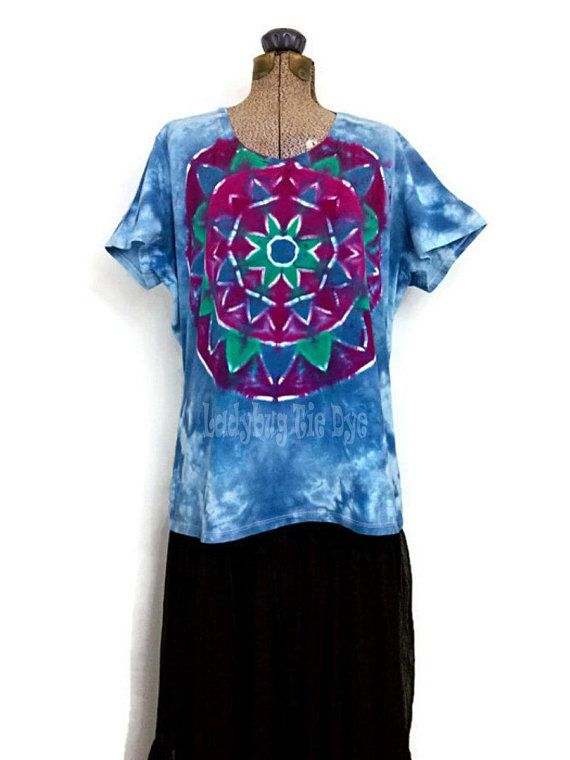 b63d0a743 Tie Dye Shirt For Women Plus Size 2Xl V-Neck Tshirt Blue Tye | my ...