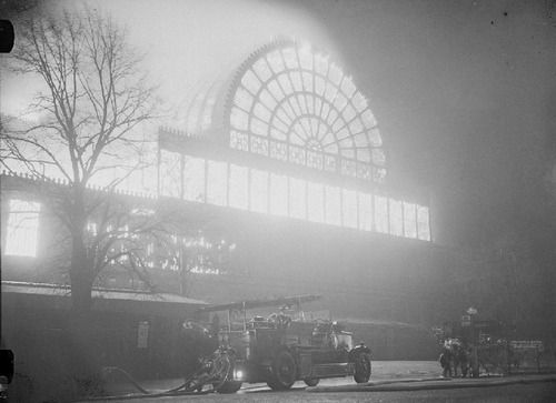 A photograph of fire engines at the Crystal Palace fire, Sydenham, London, taken in November 1936 by Edward G Malindine for the Daily Herald.