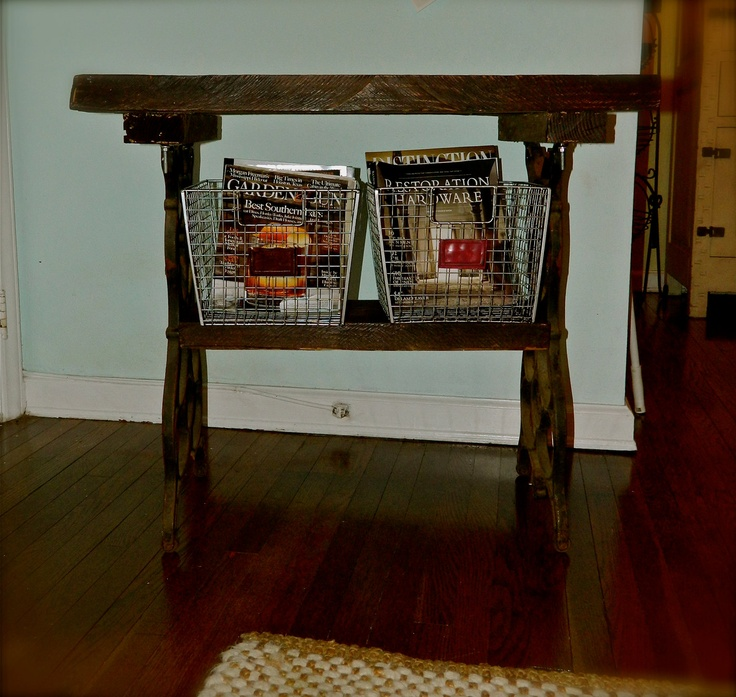 Primitive Rustic Reclaimed Wood & Cast Iron Table, Foyer