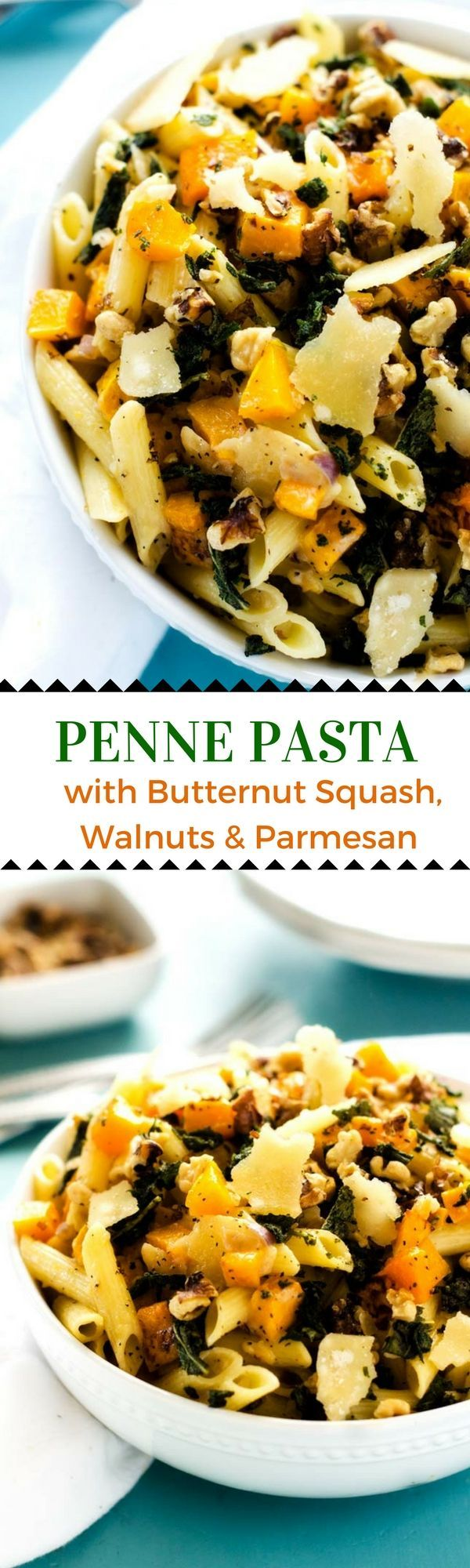 Gluten Free Penne Pasta with Butternut Squash, Walnuts & Parmesan - This Penne Pasta with Butternut Squash, Walnuts & Parmesan offers the best of fall. I love the crispy sage, crunchy walnuts and the hint of saltiness from the Parmesan. And of course, there is that delicious roasted butternut squash.  This vegetarian dish is easily made dairy-free by using dairy free parmesan and butter.  #ad #FamilyPastaTime