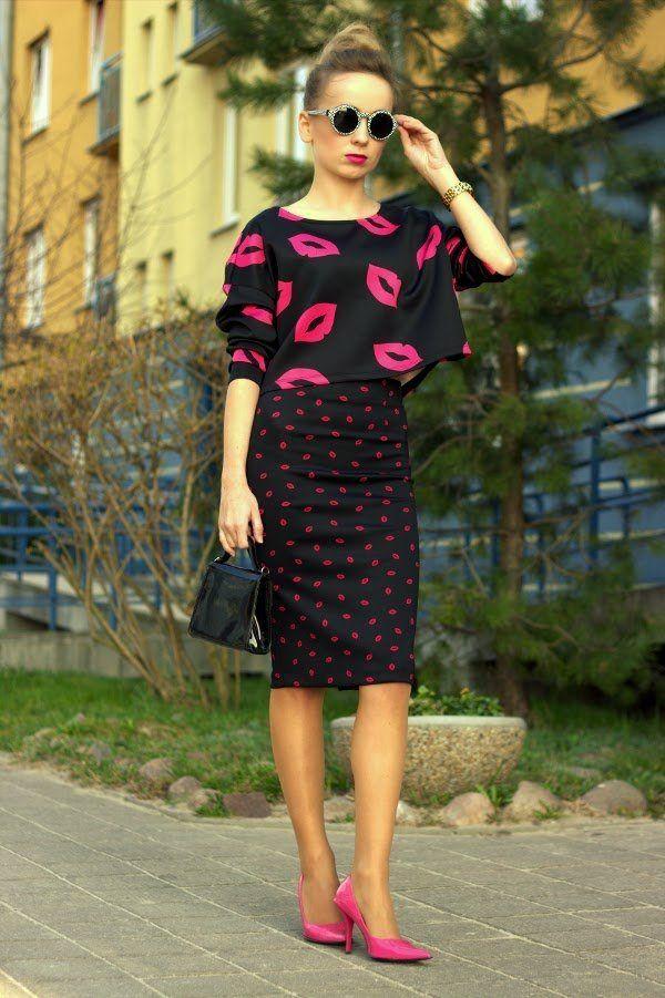 jupe en noir et rose