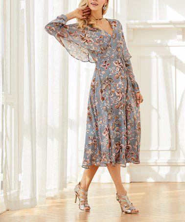 6bbca77d4 Love this Denim Blue Floral Chiffon Surplice Dress - Women   Plus on  zulily!   zulilyfinds