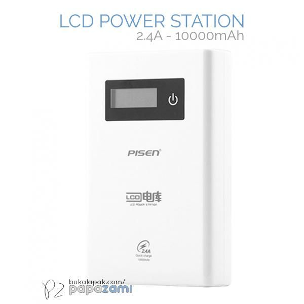 Pisen LCD Power Station 10000mAh (2.4A) (Apple White)  Product Name: LCD Power Station (2.4A) Brand: Pisen Type: Power Bank Weight: 248g Capacity: 10000mAh Battery Type: Grade A Lithium-ion Battery Output: Out 1:  5V==1A, Out 2:  2.5V==2.4A, Out1+Out2: 2.5V==2.4A Input: 5V==2A  Pisen LCD Power Station 10000mAh (2.4A) * High quality Lithium-Ion batteries.  * Supports fast charging, with more than 1000 charging cycles.  * Compatible with digital devices such as smartphones, iphones and other…