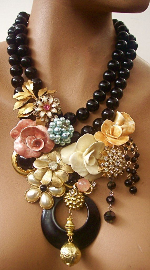 Salir negro abalorios joyas declaración por secondlookjewelry